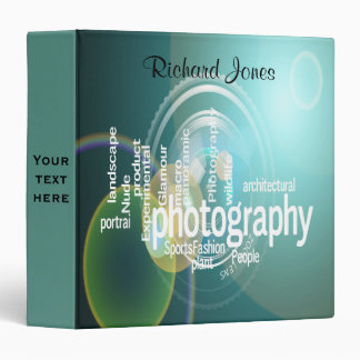 Photagraphy Typography Bokeh Photographer 3 Ring Binder