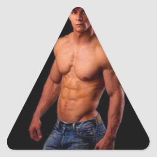 PhotArt original - torso muscular en gorra y Pegatinas Triangulo