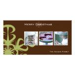 Photcard verde del navidad del copo de nieve tarjeta fotográfica