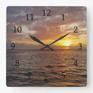 Photo 18 ocean sunset square wall clock