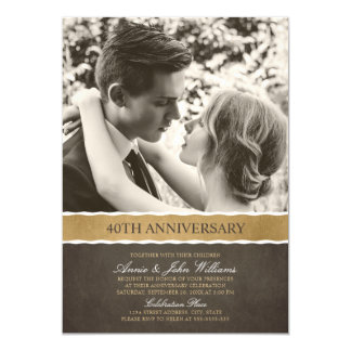 Photo 40th Wedding Anniversary Your Picture Here Invitation