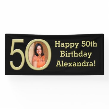 birthday Photo 50th Birthday Party Banner Black/Gold