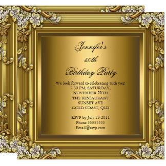 Photo 50th Birthday Party Elegant Gold Black Card