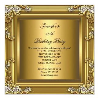 Black Gold Th Birthday Party Invitations Announcements Zazzle - Birthday invitation gold coast