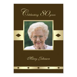 "Photo 80th Birthday Party Invitation -- Brown 5"" X 7"" Invitation Card"
