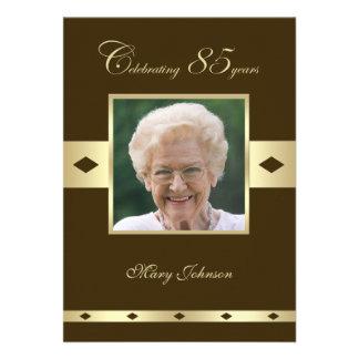 Photo 85th Birthday Party Invitation -- Brown Invites