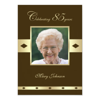 Photo 85th Birthday Party Invitation Brown