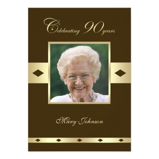Photo 90th Birthday Party Invitation -- Brown