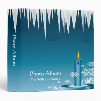 Photo Album Blue Candle and Icicles 3 Ring Binder