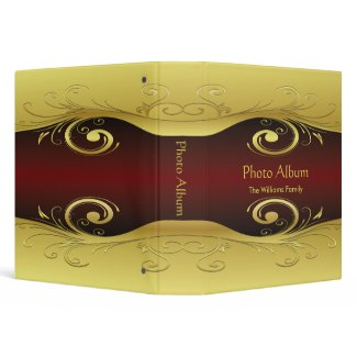 Photo Album Elegant Red and Gold binder