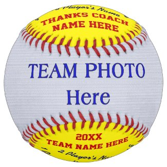 Photo and All Player's Names Softball Coach Gifts
