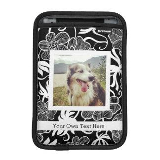 Photo and Custom Text BW Mod Floral Pattern iPad Mini Sleeves