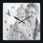 """Photo and numbers, make your own square wall clock<br><div class=""""desc"""">Photo and numbers,  make your own wall clock. Personalize it with your own photo with just a click.</div>"""