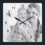 "Photo and numbers, make your own square wall clock<br><div class=""desc"">Photo and numbers,  make your own wall clock. Personalize it with your own photo with just a click.</div>"
