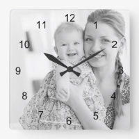 Photo and numbers, make your own square wall clock