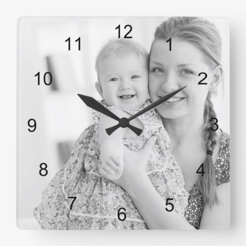 Photo and numbers make your own square wall clock