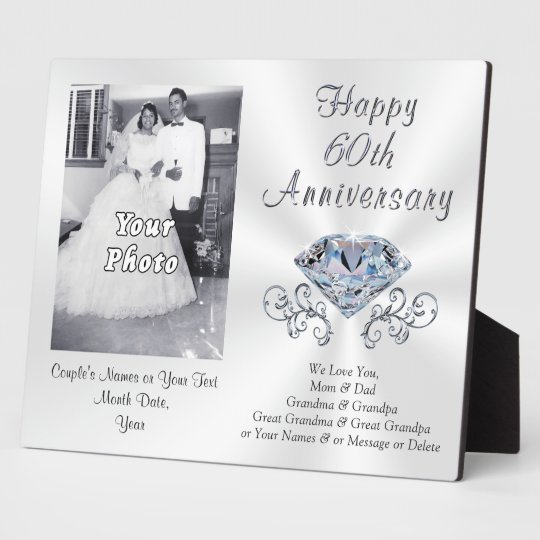 60th Anniversary Gift Ideas Plaque