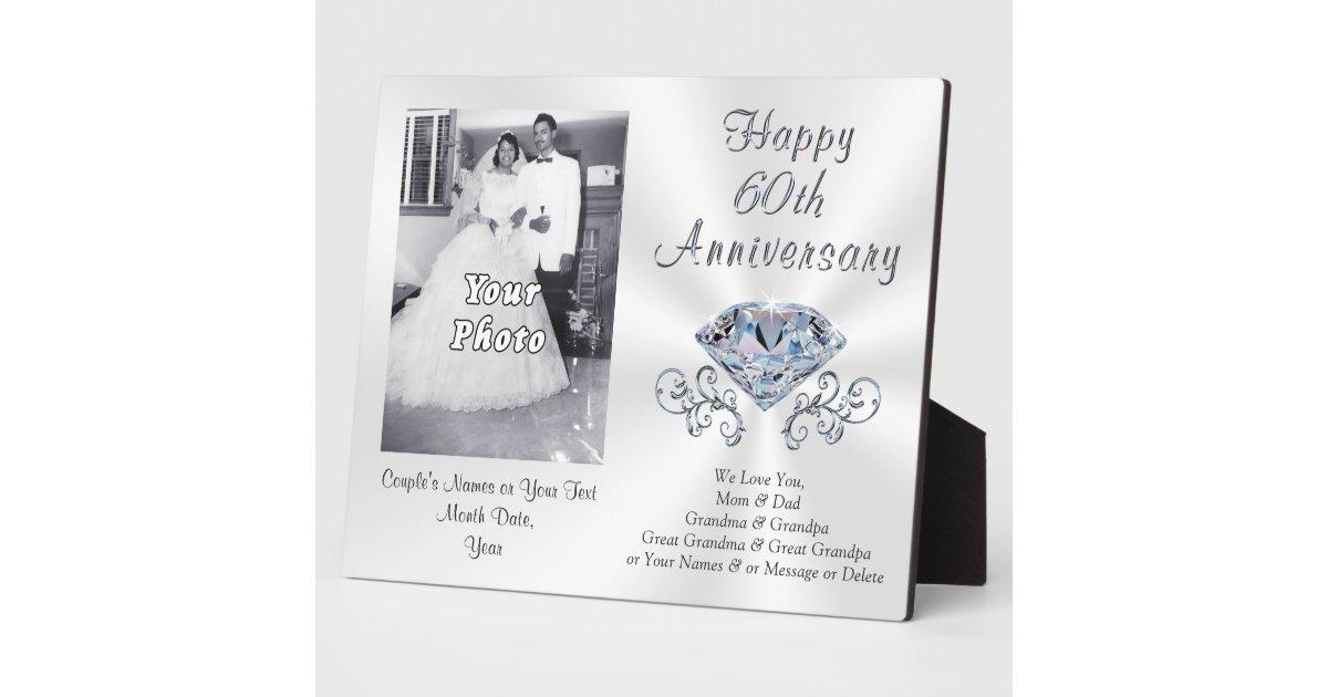 Photo And Personalized 60th Anniversary Gift Ideas Plaque Zazzle Com