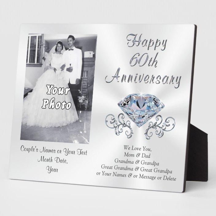 Photo And Personalized 60th Anniversary Gift Ideas Plaque Zazzle