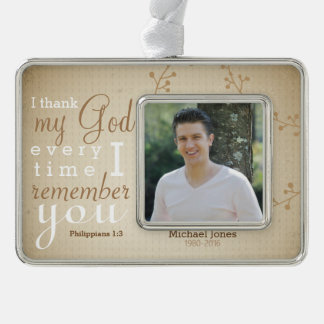 Photo and  Scripture Memorial Ornament