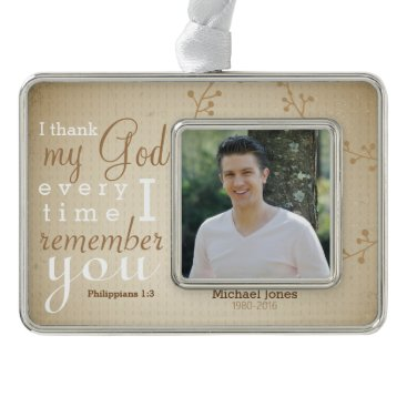 Christmas Themed Photo and  Scripture Memorial Ornament