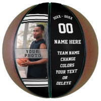 Photo and Text Personalized Basketball  Your Color