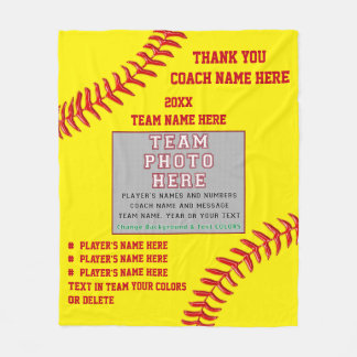 Photo and Your Text Gifts for Softball Coaches Fleece Blanket