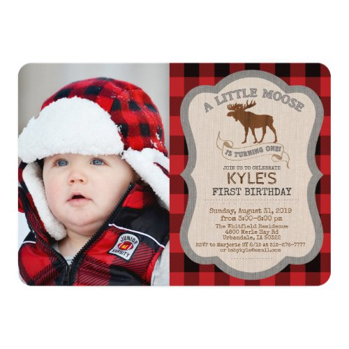 PHOTO/ANY AGE - Moose Boy Birthday Invitation
