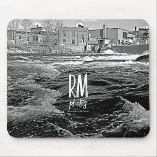 Photo Art Black and White Urban River Mouse Pad