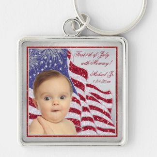 Photo Babies First July 4th with Mommy Key Chain