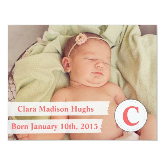 Photo Baby Birth Announcement with Monogram