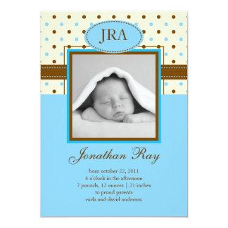 "Photo Baby Boy Birth Announcement 5"" X 7"" Invitation Card"