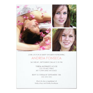Photo Baby Shower Invitations for Girls with Bird