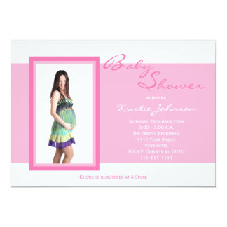 Photo Baby Shower Invitations -- Photo on Pink