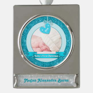 Photo Baby's First Christmas Blue Heart Silver Plated Banner Ornament