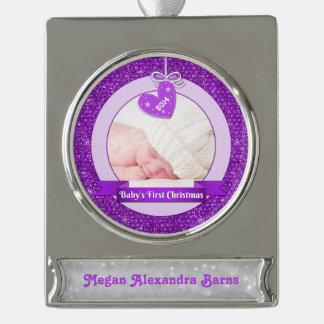 Photo Baby's First Christmas Purple Heart Silver Plated Banner Ornament