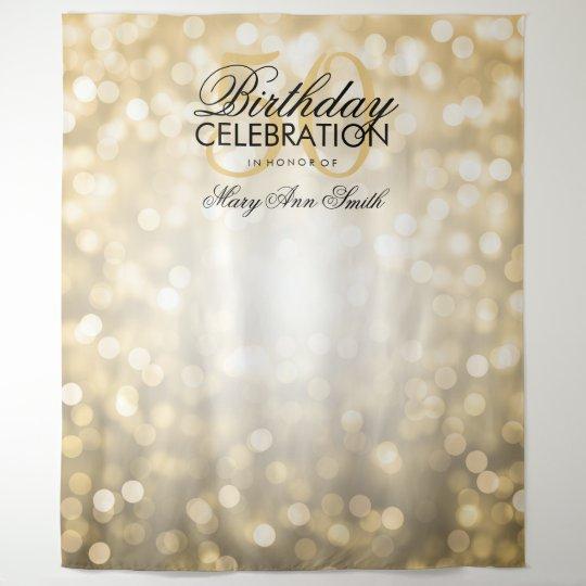 Birthday Photography Lighting: Photo Backdrop 50th Birthday Gold Glitter Lights