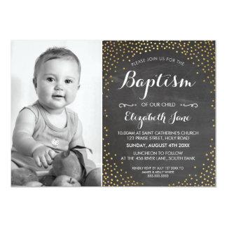 PHOTO BAPTISM cute mini gold confetti chalkboard Card