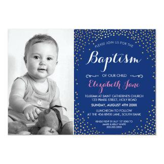 PHOTO BAPTISM cute mini gold confetti pattern navy Card