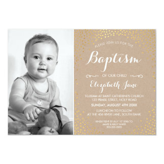 PHOTO BAPTISM cute mini gold confetti white kraft Card