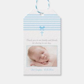 Photo Baptism Favor Gift Tag | Blue