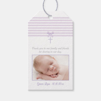 Photo Baptism Favor Gift Tag | Purple