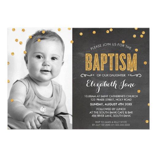 PHOTO BAPTISM gold glitter confetti chalkboard Personalized Announcement
