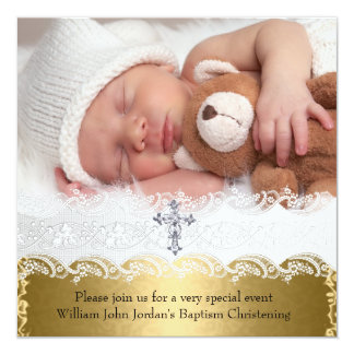 Photo Baptism Gold Lace Cross Baby Boy Girl Card