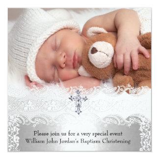Photo Baptism Lace Cross Baby Boy Girl Silver 5.25x5.25 Square Paper Invitation Card