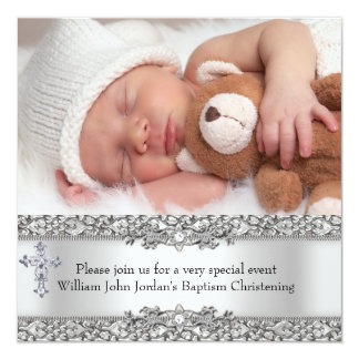 Photo Baptism Silver Lace Cross Baby Boy Girl 5.25x5.25 Square Paper Invitation Card