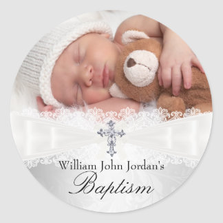 Photo Baptism White Silver Cross Sticker
