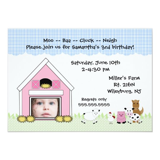 Photo Barn Farm birthday invitation with animals