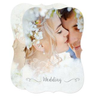 Photo Best Day Ever Damask Charcoal Font Wedding Invitation