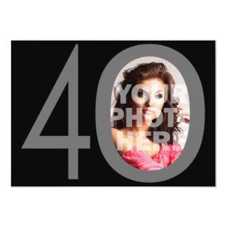 Photo Big 40 Black/Gray Birthday Party Invitations